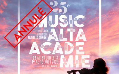 Annulation de l'Académie Musicalta 2020